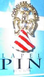 God Bless America Angel Horse Show Jewelry Pin Brooch