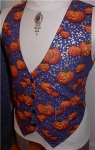 Pumpkin Halloween Western Rail Horse Show Vest S/M