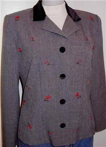 Grey Red Embroidery Western Halter Horse Show Jacket 8