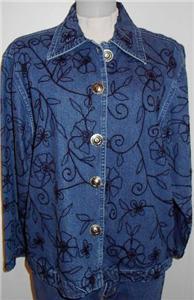 Denim Embroidery Western Halter Horse Show Jacket LG