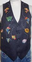 Western Fish Silver Studs Rail Halter Horse Show Vest S