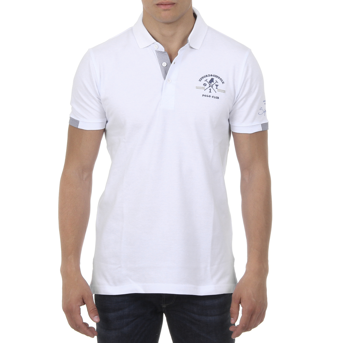 Primary image for Ufford & Suffolk Polo Club Mens Polo Short Sleeves US025 WHITE