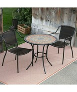 Mosaic Inlaid Stone 3 Piece Patio Bistro Set Small Space Outdoor Dining ... - $479.16