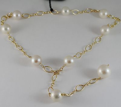 18K YELLOW GOLD NECKLACE WITH  BIG WHITE PEARLS LARIAT / CHAIN, MADE IN ITALY