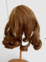 "French Brunette Human Hair Wig w/ Curls for 9"" Doll Head Old Store Stock - $32.99"