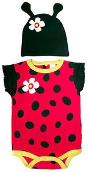 Baby Girls Ladybug Bodysuit & Cap Set