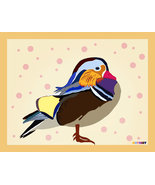 Mandarin duck with circles decorated background , wall art print on canvas for r - $49.50