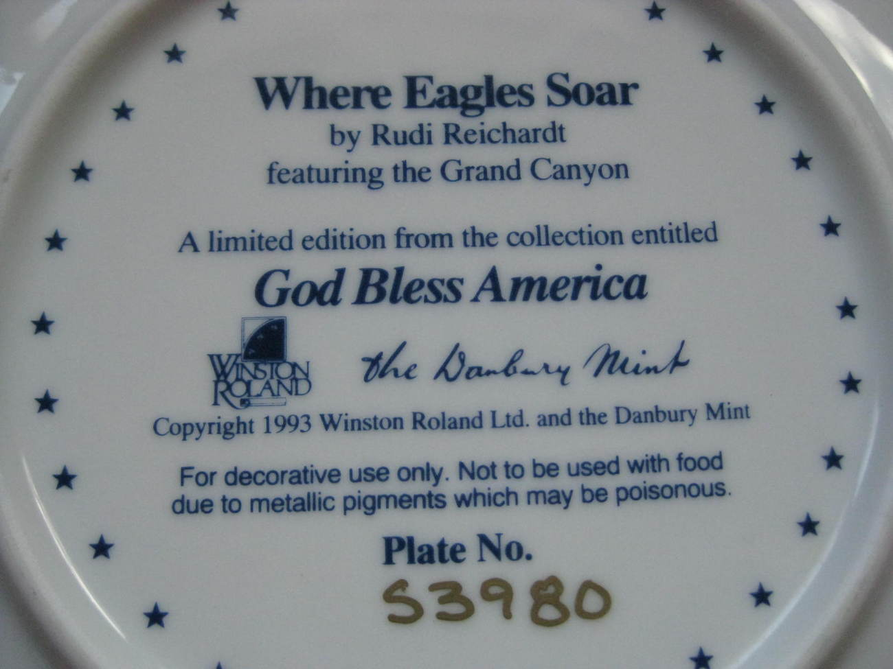 Framed Plate - WHERE EAGLES SOAR featuring the GRAND CANYON - Danbury Mint image 3