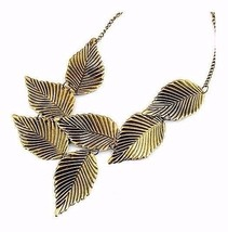 Bronzed Metal Leaf Light Weight Necklace Choker Statement Pendant - $18.15
