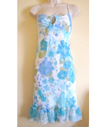 NEW CITY TRIANGLES COCKTAIL PARTY DRESS, SZ 5 JUNIORS,BLUE,WHITE,AQUA,FL... - $29.95