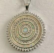 925 sterling silver Multi-color Opal Circle Pendant Necklace [PEN-109] - $28.71