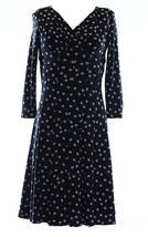 2825-2 Ralph Lauren Womens Petites V-Neck 3/4 Sleeve Casual Dress B//W 2... - $44.42