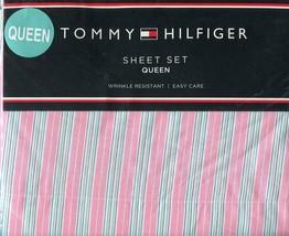Tommy Hilfiger Shadow Stripe Pink Sheet Set, Queen Size - $69.99
