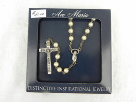 Dist. Inspirational Jewelry Ave Maria Faux Pearl Rosary Cross Necklace N... - $7.99