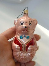 Vintage Pink Teddy Bear Blown Glass Xmas Ornament Red Vest Blue Bowtie - $19.79