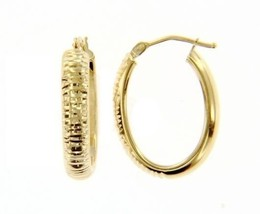 18K YELLOW GOLD OVAL HOOP EARRINGS 24 x 4 MM WORKED KNURLED BRIGHT MADE IN ITALY image 1