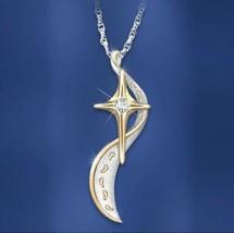 TISONLIZ Gold Cross Crystal Footprint Silver Necklace Womens Reli [PEN-264] - $11.30
