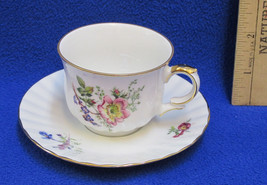 Tea Cup & Saucer E&R Golden Crown W Germany Wild Flower Floral White Gold - $10.39