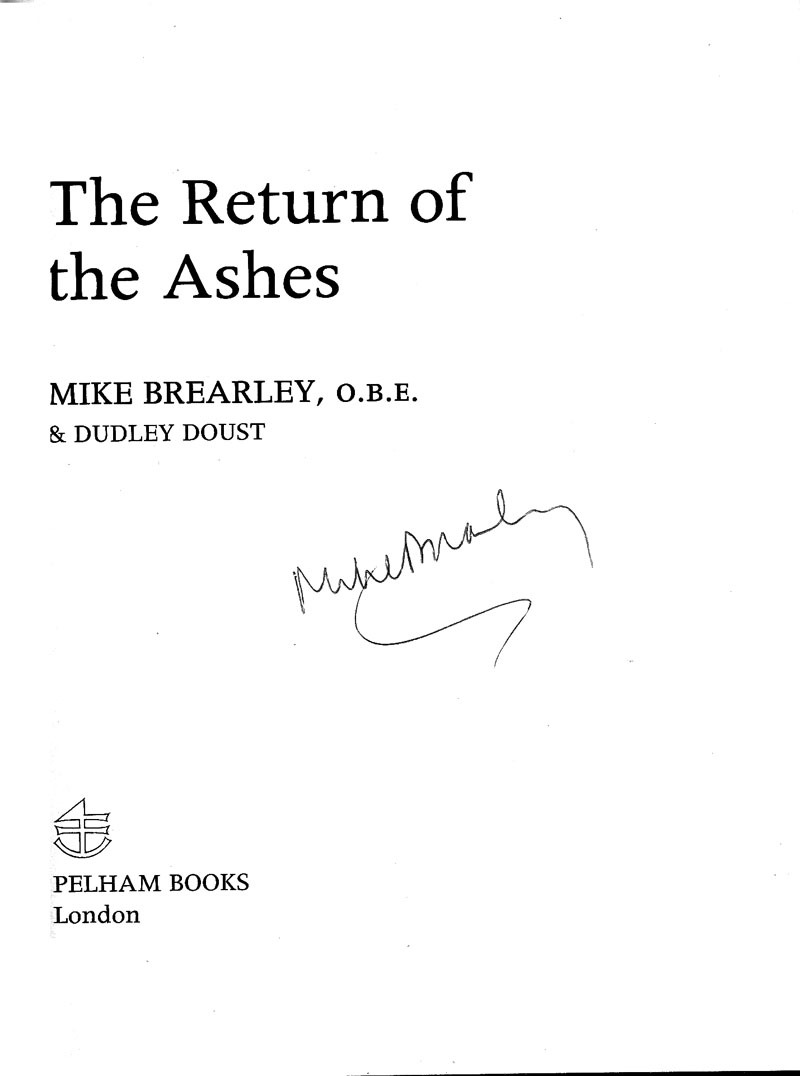 Signed Cricket Book - Return of the Ashes - M. Brearley