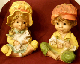Alice & Andy Chalkware Figurines UNIVERSAL STATUARY 1974 Statue Bookend ... - $19.77