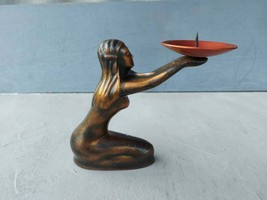 Vintage Candlestick Metal Candle Holder Girl Statuette Candlestic Russia... - $37.00