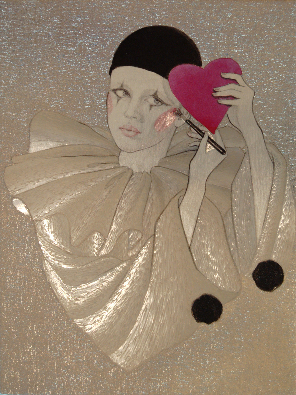 152947 silver clown   big red heart