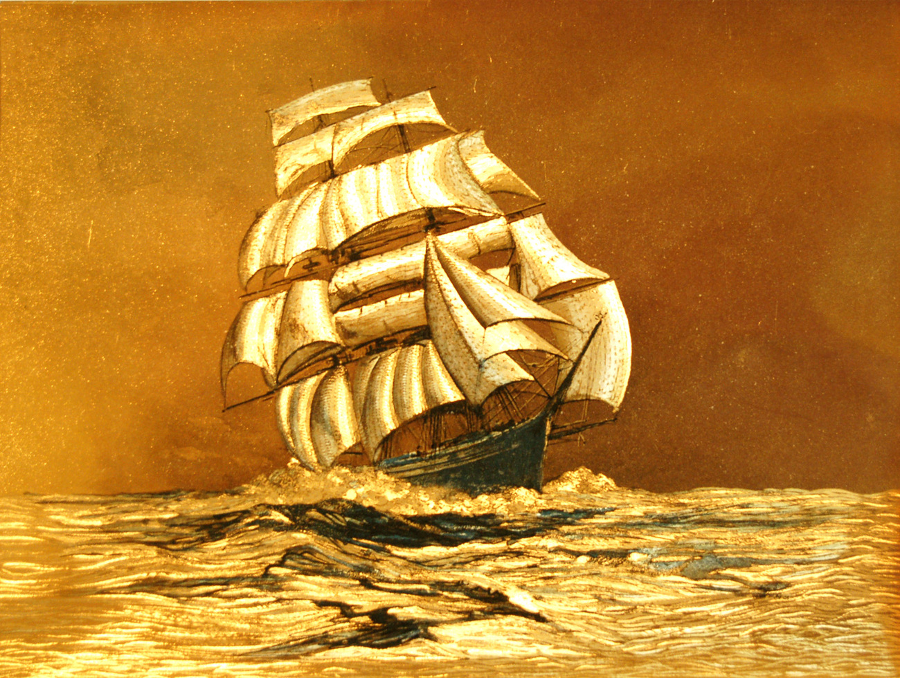 W5345m gold sailing ship