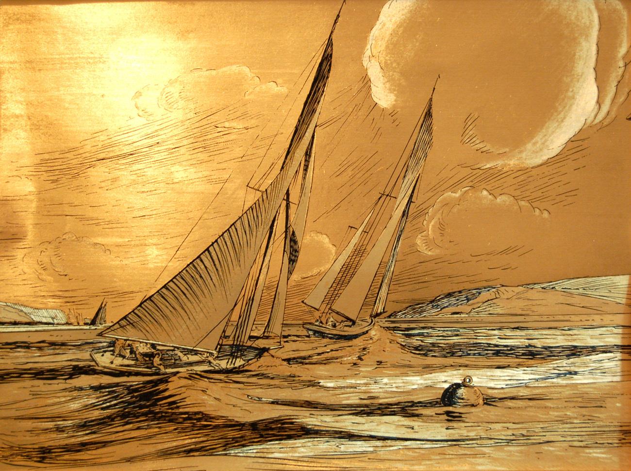 155080 racing sailboats   gold