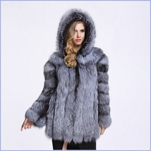 Full Pelt Luxury Hooded Silver Blue Long Sleeve Mink Faux Fur Overcoat Parka