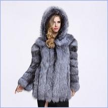 Full Pelt Luxury Hooded Silver Blue Long Sleeve Mink Faux Fur Overcoat Parka image 1