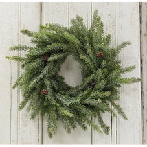 """Natural Look Frosted White Spruce Christmas Wreath, 18"""" Rustic Holiday  - $53.00"""