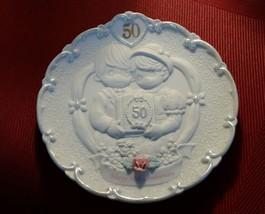 1995 Enesco PRECIOUS MOMENTS 50th Anniversary Plate Bas Relief Bisque Porcelain - $11.16
