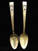 "2 Oneida Community Coronation Spoons 6"" 1936 Beveled Silver Plate - $8.90"