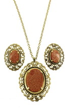 Vintage Gold Stone & Gold Tone Filigree Oval Necklace & Clip Earrings 19... - $60.74
