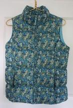 Lands' End Kids Girls' L 14 Blue Floral Down Puffer Vest Full Zip - $20.90