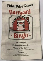 1994 Fisher Price Barnyard Bingo Game Replacement Instructions Only - $9.79