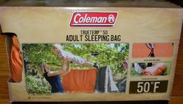 "Coleman Truetemp 50 Degree Adult 5'11"" Sleeping Bag Orange New in Box - $29.02"