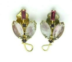 JULIANA D&E Gold Tone Pink Purple Pressed Glass Flower Earrings Vintage - $49.49