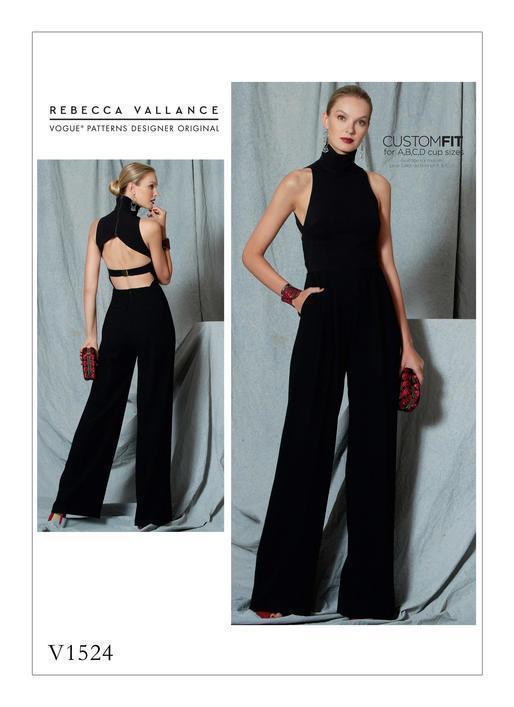 V1523 Vogue Sewing Patterns Misses' Open-Back, Banded Jumpsuit w/ Collar New