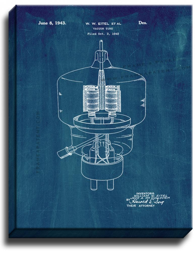 Primary image for Vacuum Tube Patent Print Midnight Blue on Canvas