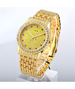Bling-ed Out Silver Round Luxury Mens Watch w/Bling-ed Out Cuban Bracele... - £36.12 GBP