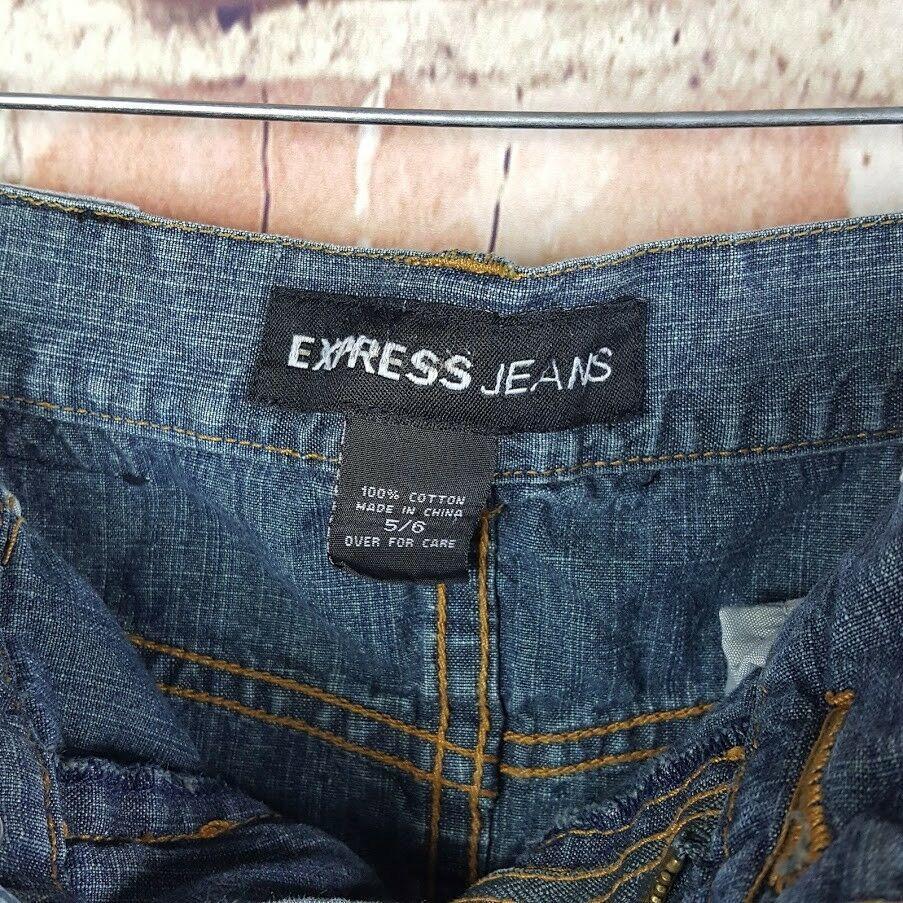 Express Jeans Womens Denim Skirt Size 5/6 Juniors Pencil Pockets Slit
