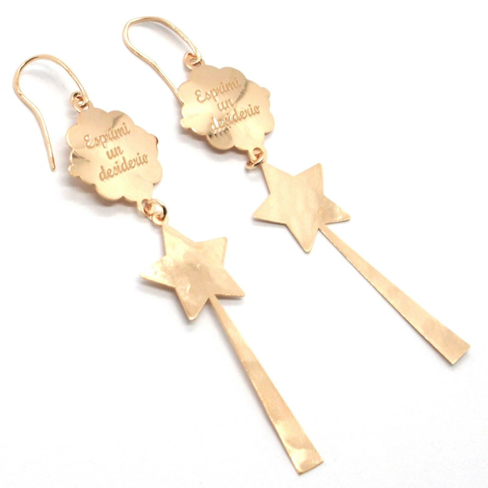 Silver Earrings 925 Laminated in Rose Gold le Favole with Magic Wand