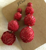 Nwt Authentic J Crew Red Sequin Ball Drop Earrings Srp $65 - $37.99