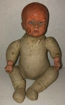 "Antique 1910 HORSMAN Composition Cloth 12"" Baby Doll AS IS Creepy Bald Newborn - $234.95"