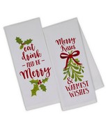 Merry Kisses Dish Towels Set of 2 New Kitchen 100% Cotton Printed Warmes... - $19.79