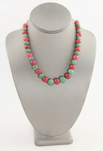 "18"" VINTAGE Jewelry RED & GREEN JADEITE GRADUATED BEAD NECKLACE - 54 gr - $33.75"