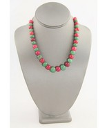 """18"""" VINTAGE Jewelry RED & GREEN JADEITE GRADUATED BEAD NECKLACE - 54 gr - $33.75"""