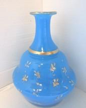 19th Century French Blue Opaline w Gilt ENAMEL Water Bottle  Vase BACCARAT! - $272.20
