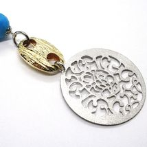 925 Silver Necklace, MEDALLION SATIN, TURQUOISE FACETED, Pendant image 3